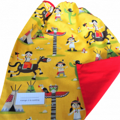 Serviette de cantine élastiquée avec étiquette prénom - Gros pois Petits points - Artisanat textile français