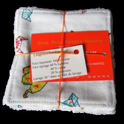 Lingettes lavables - Gros pois Petits points - Artisanat textile français