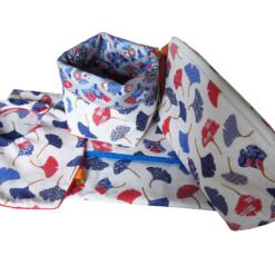 Trousse de toilette vide poche tapis à langer bavoir - Gros pois Petits points - Artisanat textile français